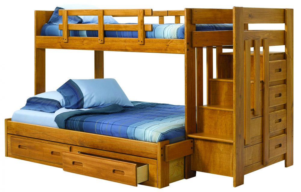 twin full staircase bunk bed woodcrest