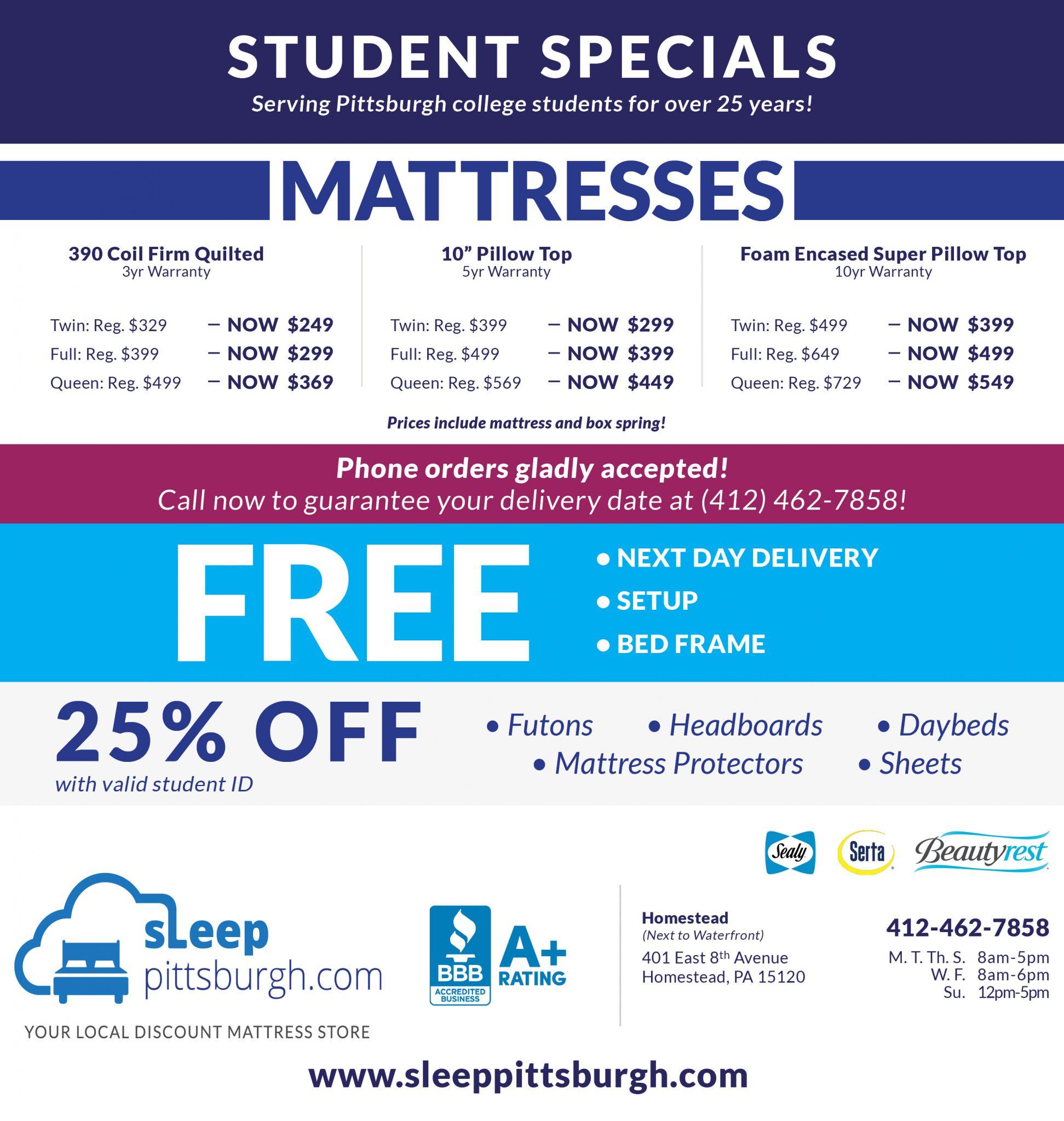 Back to School Mattress Sale Pittsburgh