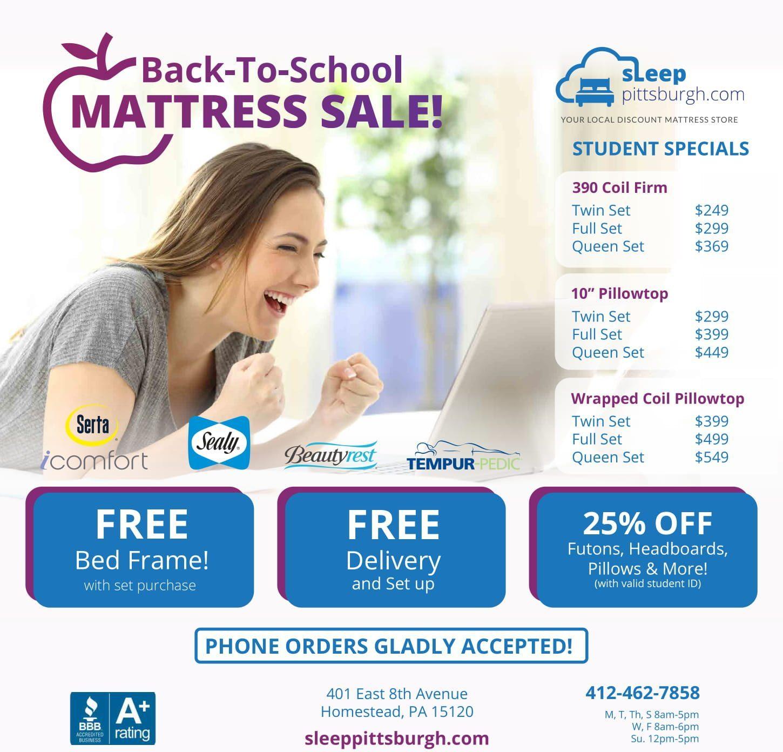 Sleep Pittsburgh Back to School Mattress Sale