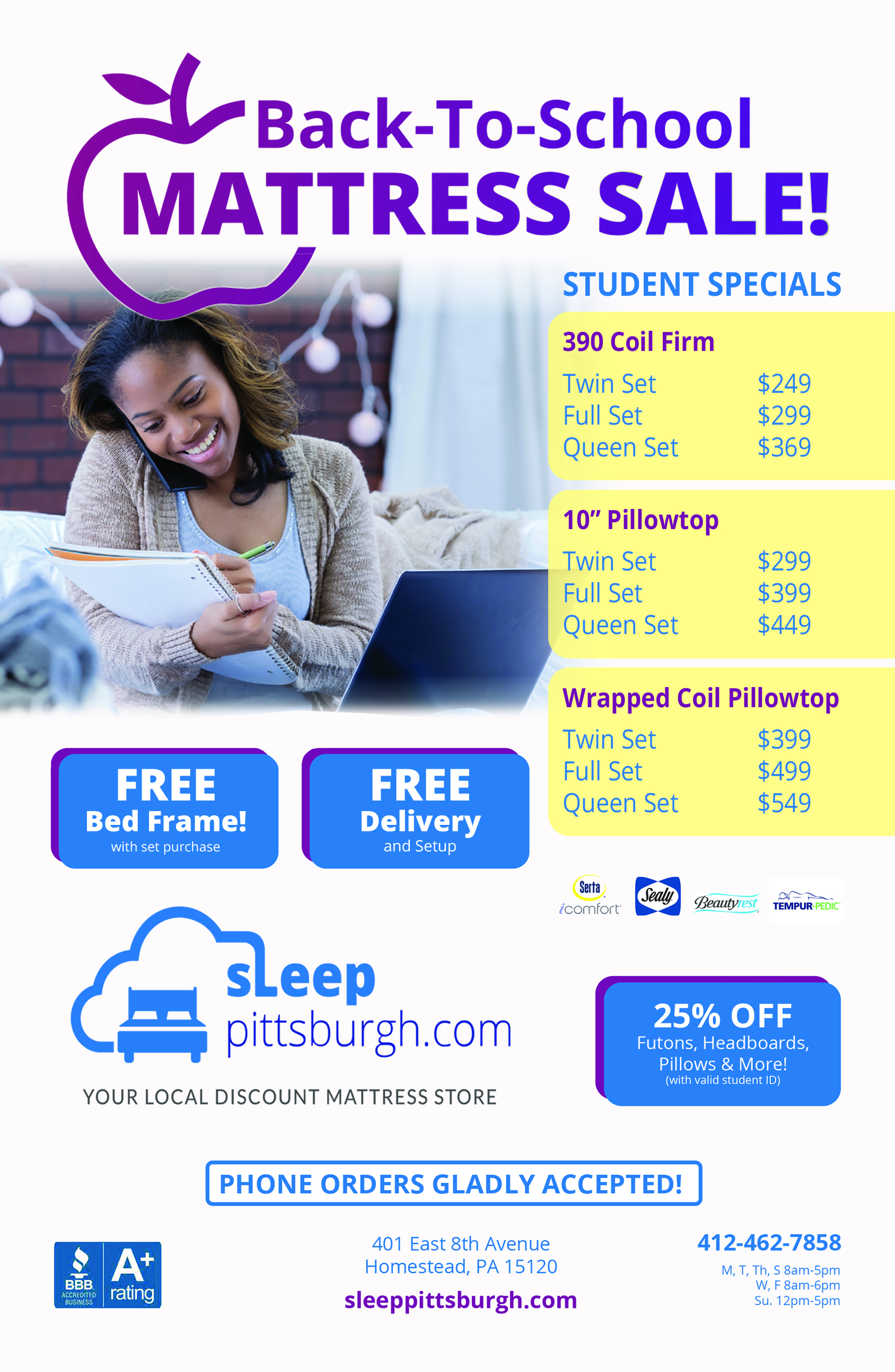 Sleep Pittsburgh Back to School Mattress Sale 2019
